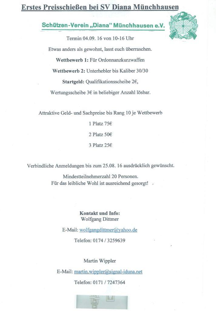 Preisschießen 2016 SV Münchhausen
